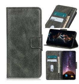 Pull Up PU Leder Bookstyle Case für Samsung Galaxy A12 Dunkelgrün