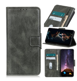 Pull Up PU Leder Bookstyle Hoesje voor Samsung Galaxy A12 Donker Groen