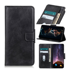 Pull Up PU Leder Bookstyle Hoesje voor Samsung Galaxy A02s Zwart