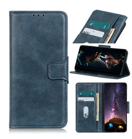 Pull Up PU Leder Bookstyle Hoesje voor Samsung Galaxy A02s Blauw