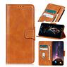 Pull Up PU Leder Bookstyle Case für Samsung Galaxy A02s Brown