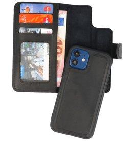 MF Handmade 2 in 1 Leder Bookstyle Hülle iPhone 12 Mini Schwarz