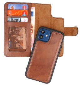 MF Handmade 2 in 1 Leder Bookstyle Hülle iPhone 12 Mini Brown