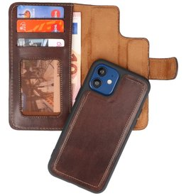 MF Handmade 2 in 1 Leder Bookstyle Hülle iPhone 12 Mini Mocca