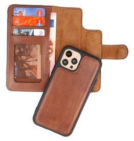 MF Handmade 2 in 1 Leder Bookstyle Hülle iPhone 12/12 Pro Brown