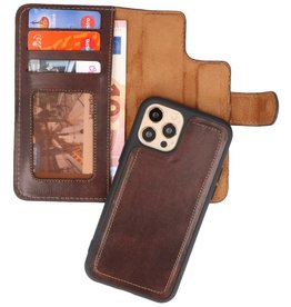 MF Handmade 2 in 1 Leder Bookstyle Hülle iPhone 12 Pro Max Mocca
