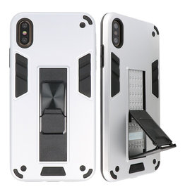 Stand Hardcase Backcover für iPhone X / Xs Silver