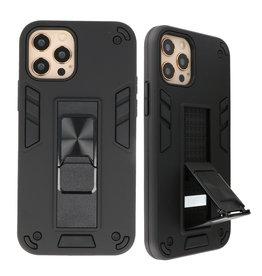 Stand Hardcase Backcover voor iPhone 12 - 12 Pro Zwart