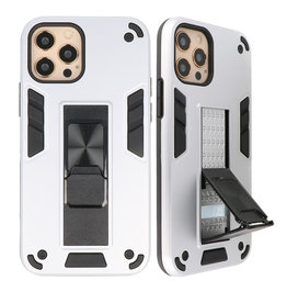 Stand Hardcase Backcover voor iPhone 12 - 12 Pro Zilver