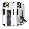 Stand Hardcase Backcover für iPhone 12 - 12 Pro Silver