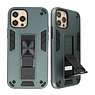 Stand Hardcase Backcover voor iPhone 12 Pro Max Donker Groen