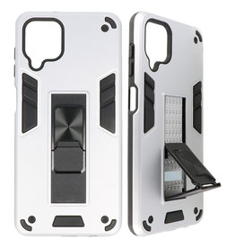 Stand Hardcase Backcover for Samsung Galaxy A12 Silver