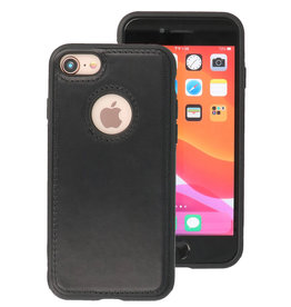 Klassiek Design Leer Back Cover iPhone 8 Zwart
