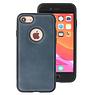Klassiek Design Leer Back Cover iPhone 8 Navy