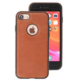 Klassiek Design Leer Back Cover iPhone 8 Cognac