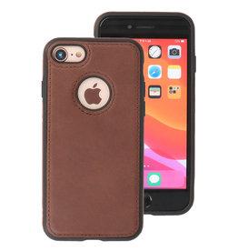 Klassiek Design Leer Back Cover iPhone 8 Mocca