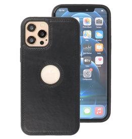 Klassiek Design Leer Back Cover iPhone 12 - Pro Zwart