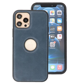 Klassiek Design Leer Back Cover iPhone 12 - 12 Pro Navy