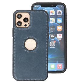 Klassiek Design Leer Back Cover iPhone 12 - Pro Navy