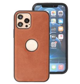 Klassiek Design Leer Back Cover iPhone 12 - 12 Pro Cognac