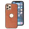Klassiek Design Leer Back Cover iPhone 12 - Pro Cognac