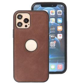 Klassiek Design Leer Back Cover iPhone 12 - Pro Mocca