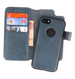 Klassiek Design 2 in 1 Leer Book Case iPhone 8 Navy