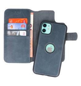 Klassiek Design 2 in 1 Leer Book Case iPhone 11 Navy