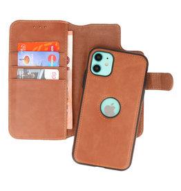 Klassiek Design 2 in 1 Leer Book Case iPhone 11 Cognac