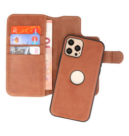 Klassiek Design 2 in 1 Leer Book Case iPhone 12 - 12 Pro Cognac