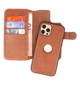 Klassiek Design 2 in 1 Leer Book Case iPhone 12 - Pro Cognac