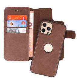 Klassiek Design 2 in 1 Leer Book Case iPhone 12 - 12 Pro Mocca