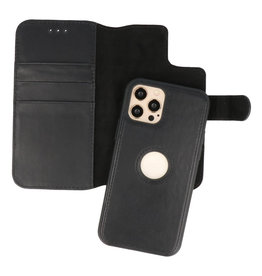 Klassiek Design 2 in 1 Leer Book Case iPhone 12 - 12 Pro Zwart