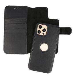 Klassiek Design 2 in 1 Leer Book Case iPhone 12 - Pro Zwart