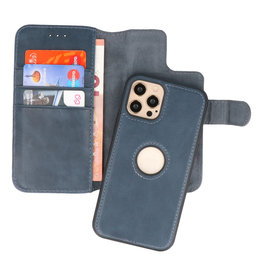 Klassiek Design 2 in 1 Leer Book Case iPhone 12 - Pro Navy