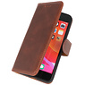 Microfibre Book Case Cover for iPhone SE 2020 Mocca