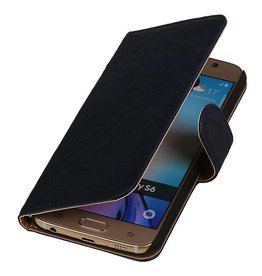 Washed Leather Bookstyle Case for Galaxy E5 Dark Blue