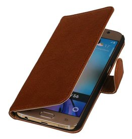 Washed Leather Bookstyle Case for Galaxy E5 Brown