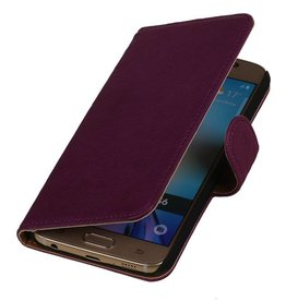 Washed Leather Bookstyle Cover for Galaxy E7 Purple