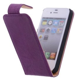 Washed Leer Classic Flip Hoes voor iPhone 4 Paars