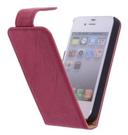 Washed Leather Classic Flip Sleeve for iPhone 4 Pink
