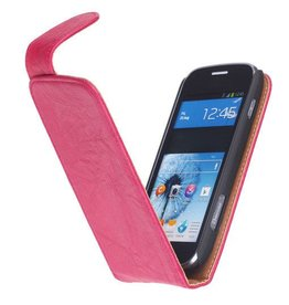 Washed Leer Classic Hoes voor Galaxy Ativ S i8750 Roze