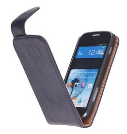 Washed Leer Classic Hoes voor Galaxy Ativ S i8750 D.Blauw