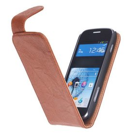 Washed Leather Classic Case for Galaxy Core i8260 Brown