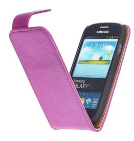 Washed Leather Classic Case for Galaxy Ace S5830 Purple