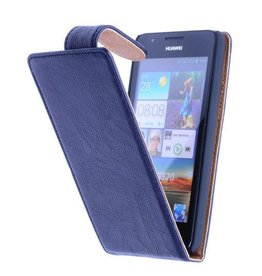 Washed Leer Classic Hoes voor Nokia Lumia 620 Donker Blauw