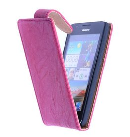 Washed Leer Classic Hoes voor Huawei Ascend G510 Roze