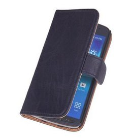 Washed Leather Bookstyle Case for Huawei Ascend G730 D.Blue