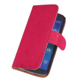 Washed Leer Bookstyle Hoes voor Huawei Ascend G510 Roze