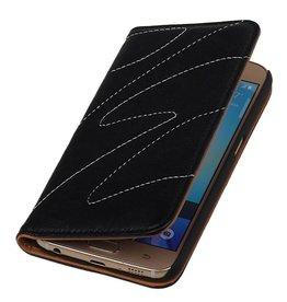 Gewaschene Ledermappe Kasten für Galaxie-S6 G920F Schwarz